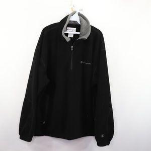 90s Champion Mens XL Half Zip Fleece Sweater Black